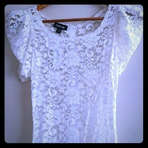 Bebe Lace Floral Top XS White Sheer
